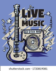Guitar and amplifier live music poster design