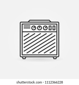 Guitar amplifier vector icon or symbol in thin line style