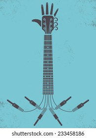 Guitar arm retro style concept, vector illustration, hands up concert