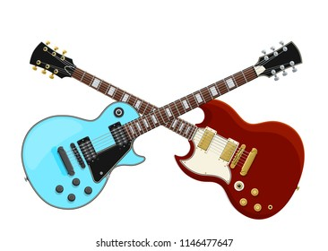 Guitar Battle Concept. Two Electric Guitars Crossed