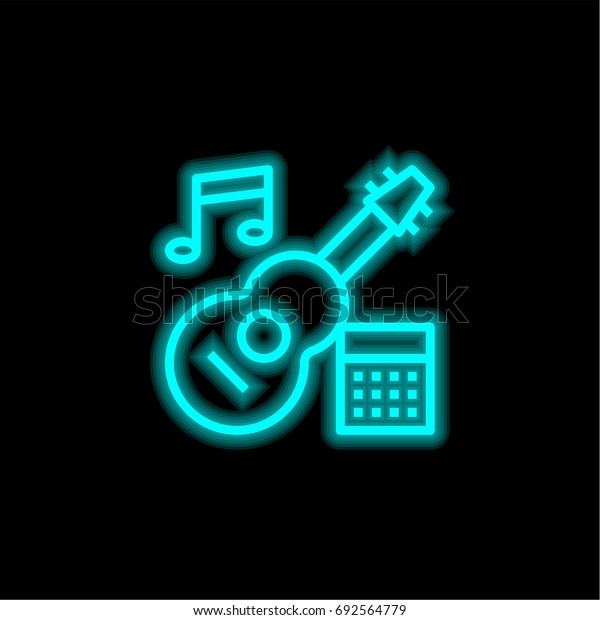 Guitar blue glowing neon ui ux icon. Glowing sign logo vector