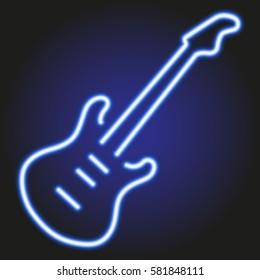guitar blue neon glowing on dark background of vector illustration