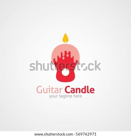 guitar candle logo design template flat stock vector royalty free