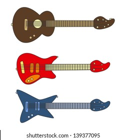 guitar cartoon set