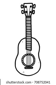 guitar / cartoon vector and illustration, black and white, hand drawn, sketch style, isolated on white background.