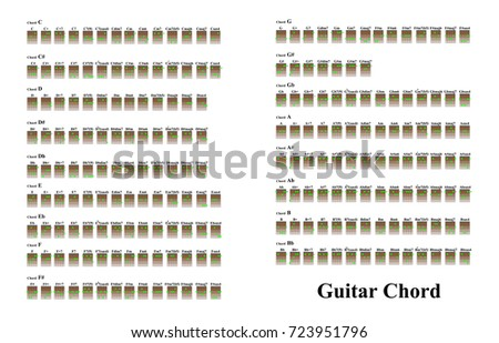 guitar chords beginners stock vector royalty free 723951796