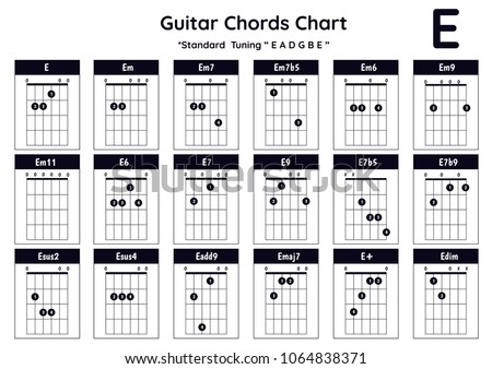 Guitar Chords E Em Em 7 Em 7 B 5 Stock Vector (Royalty Free ...