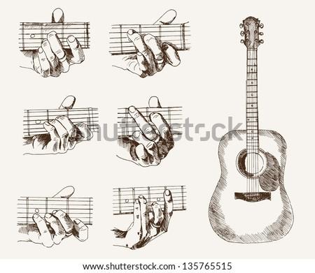 Guitar Chords Set Vector Sketches Stock Vector Royalty Free