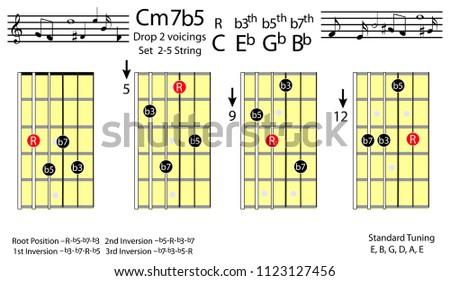 Guitar Chords C Minor 7 B 5 Drop 2 Voicing Chord Stock Vector ...