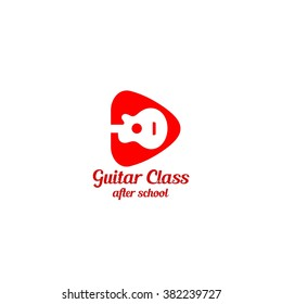 Guitar class logo with pick shape. vector illustration. Best for music business, class, lesson, course design template. White background.