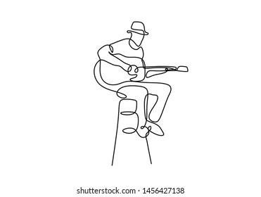 Guitar classic player one single continuous line drawing minimalist design