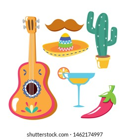 guitar cocktail hat mustache cactus chili pepper celebration viva mexico vector illustration