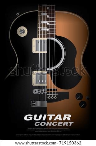 guitar concert poster background template vector のベクター画像素材