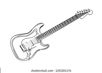 guitar contour vector illustration
