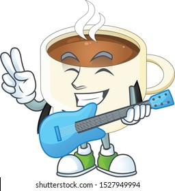 With guitar cup coffee the character with mascot