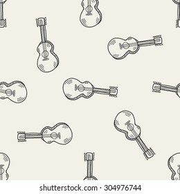 guitar doodle seamless pattern background
