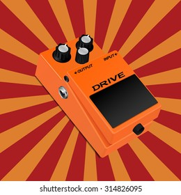 Guitar drive pedal on sunbeam background. EPS10 vector illustration