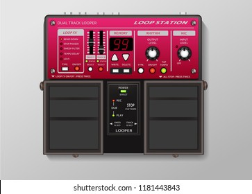 Guitar effect loop station Pedal on background with shadow-vector illustration