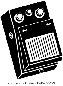 Guitar effects pedal vector illustration in black and white