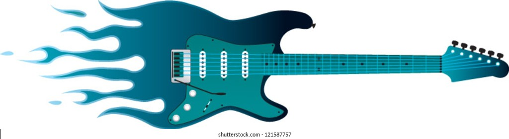 Guitar with Flames