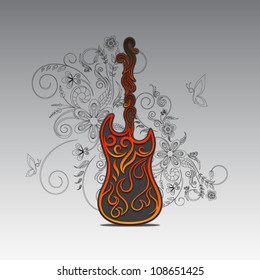 Guitar in flames on decorative floral background