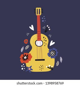 Guitar flat hand drawn vector illustration. Musical instruments shop, store poster design idea. Cartoon guitar with flowers isolated on blue background. Rock band performance, concert banner template