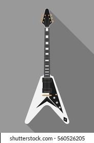 Guitar flat illustration, vector, realistic, Art, Rock, musical instrument, music