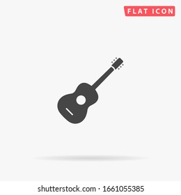 Guitar flat vector icon. Glyph style sign. Simple hand drawn illustrations symbol for concept infographics, designs projects, UI and UX, website or mobile application.