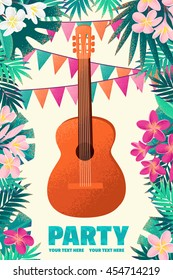 Guitar with frangipani (plumeria) flowers, palm leaves and flag. Design for tropical beach party, open air festival, hippie or ethnic music concert. Poster, invitation, flyer. Place for your text