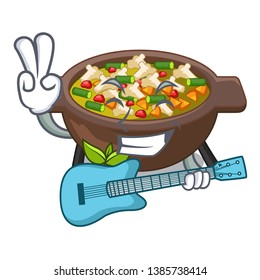With guitar fried minestrone in the cup character