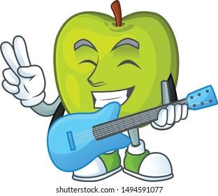 With guitar granny smith green apple cartoon mascot