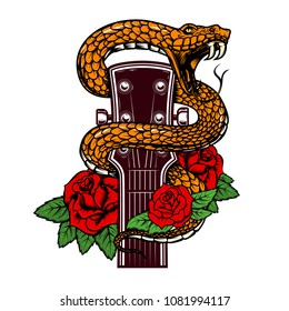 Guitar head with snake and roses. Design element for poster, card, banner, emblem, t shirt. Vector illustration