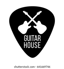 Guitar house logo with crossing guitars isolated plectrum shape
