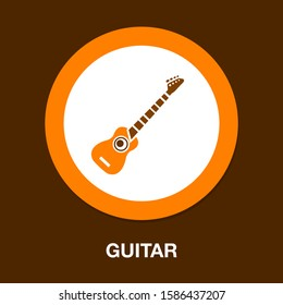 guitar icon. flat illustration of guitar vector icon. guitar sign symbol. music icon