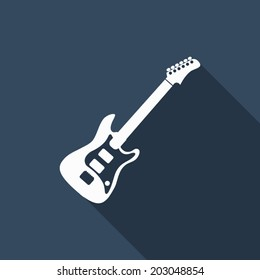 guitar icon with long shadow