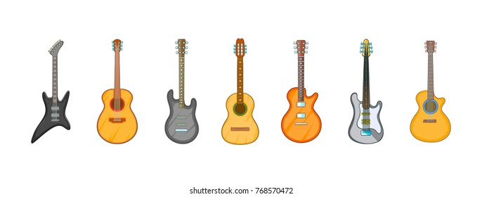 Guitar icon set. Cartoon set of guitar vector icons for your web design isolated on white background