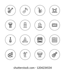 Guitar icon set. collection of 16 outline guitar icons with bonfire, conga, drum, drums, instrument, harmonica, guitar, gramophone, music, sampler, saxophone, ukelele icons.