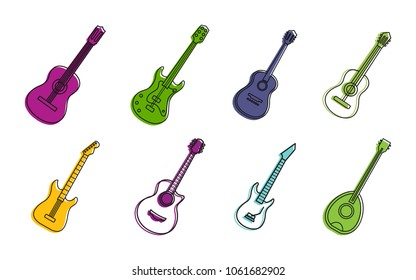 Guitar icon set. Color outline set of guitar vector icons for web design isolated on white background