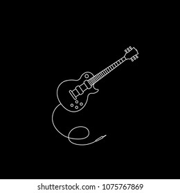 Guitar icon vector music.Electric guitar icon. Outline guitar vector for web design isolated on black background.Music instrument vector.Jack audio cable plug