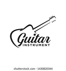 Guitar instrument simple logo design inspiration