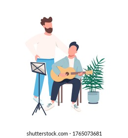 Guitar lesson flat color vector faceless character. Father teach son to play musical instrument. Guitarist with teacher. Family isolated cartoon illustration for web graphic design and animation