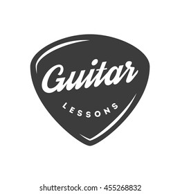 Guitar lessons. Retro badge, label, emblem
