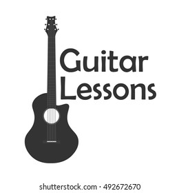 Guitar lessons, school logo. Vector flat illustration Music
