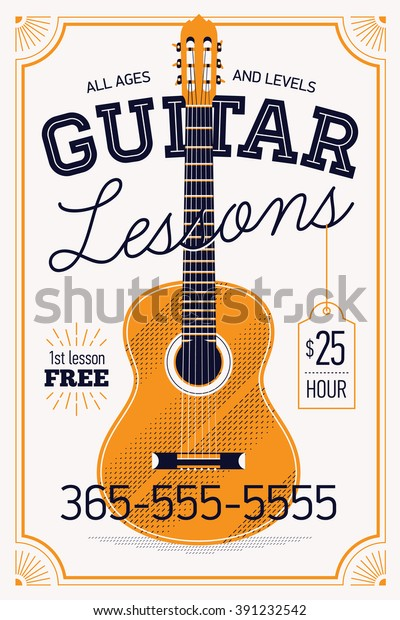 Guitar lessons vector poster or banner template with vintage feel. Musical education concept layout. Ideal for flyers, posters and advertisement