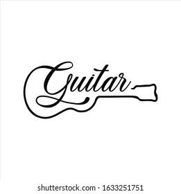 Guitar logo Design Vector Stock Illustration . Guitar Shop Logo . Rock music festival logo