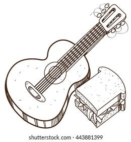 Guitar logo. Hiking, climbing, traveling outline illustration.