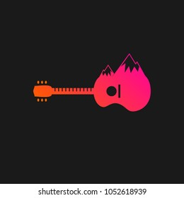 Guitar Logo Icon.  Best for guitar business, concert, publication, advertisement, lesson and course design template. Vector Illustration
