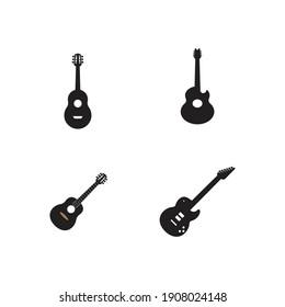 Guitar logo icon template illustration design