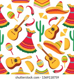 Guitar, maracas, poncho, cactus, chili, sombrero, taco, nachos. Mexican traditional musical instruments, national apparel and local food seamless pattern. Cinco de Mayo. 5th of May.