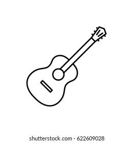 Guitar minimal icon. Instrument line vector icon for websites and mobile minimalistic flat design.